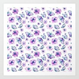 Purple Butterflies Flying Art Print