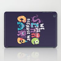 risa rodil iPad Cases featuring We Scare Because We Care by Risa Rodil