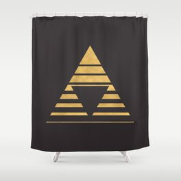 THE UPSIDE DOWN GOLD GEOMETRY Shower Curtain