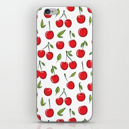 Cheerful cherry pattern. Colorful cherries on white iPhone Skin