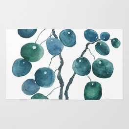 Chinese money plant watercolor Rug