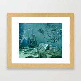 Garbage Mermaid Framed Art Print