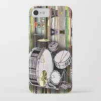 drum iPhone & iPod Cases featuring Drum Kit by JustinPotts