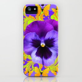 PURPLE PANSIES YELLOW BUTTERFLIES ABSTRACT FLORAL iPhone Case
