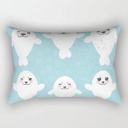 Funny white fur seal pups, cute seals with pink cheeks and big eyes. Kawaii albino animal Rectangular Pillow