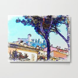 Brisighella: view of a tree with buildings and castle Metal Print