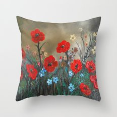 Impasto Red Poppy Love Garden Throw Pillow