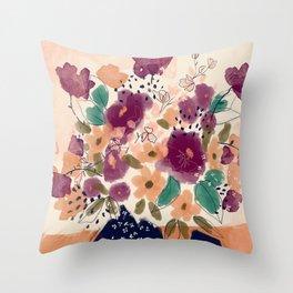 Autumn Folk Florals  Throw Pillow