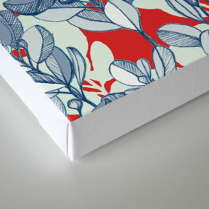 Leaf and Berry Sketch Pattern in Red and Blue Canvas Print