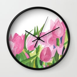 Spring is Near - Pink Tulips Wall Clock