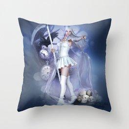 White scythe Throw Pillow