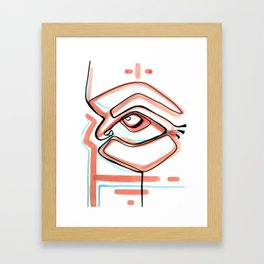 Abstract Open Eye Line Drawing with Red and Blue Framed Art Print