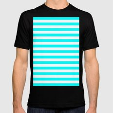 Horizontal Stripes (Aqua Cyan/White) MEDIUM Black Mens Fitted Tee
