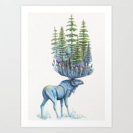 Forest Deity (Moose with Trees) Art Print
