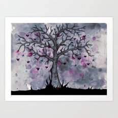Heart & Star Tree Art Print