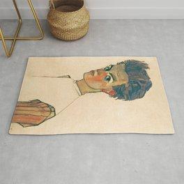 "Egon Schiele ""Self-Portrait with Striped Shirt"" Rug"