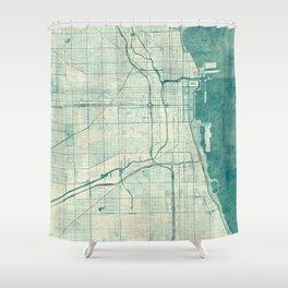 Chicago Map Blue Vintage Shower Curtain