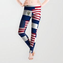 Mix of flag:  Usa and Salvador Leggings