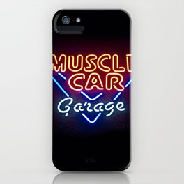MUSCLE CAR GARAGE - Retro Neon Sign iPhone Case
