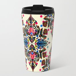 Bright Folk Art Pattern - hot pink, orange, blue & green Travel Mug
