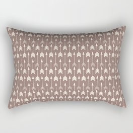 Bohemian hand drawn arrows, beige on brown Rectangular Pillow