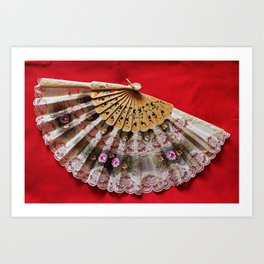 Ornate Hand Held Fan on a Red Background Art Print