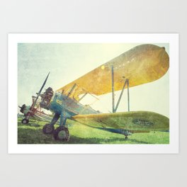 Preflight Biplane // Antique Airplanes Art Print