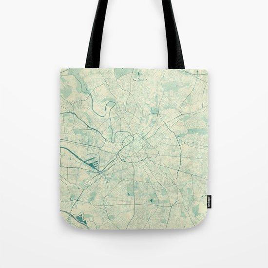 Manchester Map Blue Vintage Tote Bag