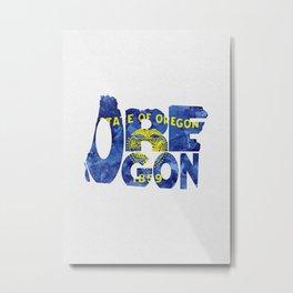 Oregon Typographic Flag Map Art Metal Print