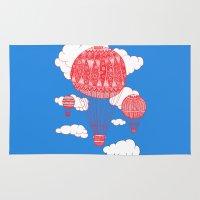 hot air balloon Area & Throw Rugs featuring Hot Air Balloon by lush tart