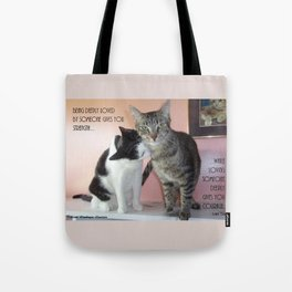Love Gives Us Strength: Two Cats Tote Bag