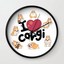 I Love Corgi Wall Clock