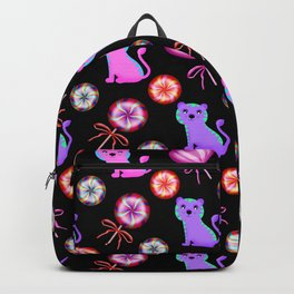 Happy baby tigers, sweet colorful retro vintage heart lollipops candy nursery pattern design Backpack