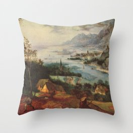 Pieter Brueghel the Elder - Landscape with the Parable of the Sower Throw Pillow