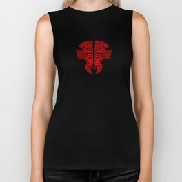 Red and Black Aztec Twins Mask Illusion Biker Tank