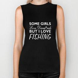 Some Girls Love Diamonds But I Love Fishing Funny T-shirt Biker Tank