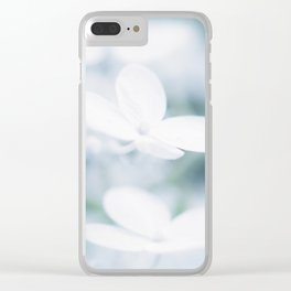 Beautiful white hydrangea blossoms. Clear iPhone Case