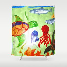 Swimming With The Turtle Shower Curtain