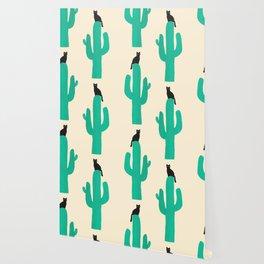 Cat on cactus Wallpaper