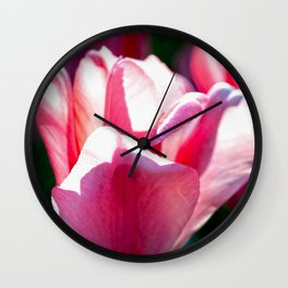 Pink Tulips And Green Grass Wall Clock