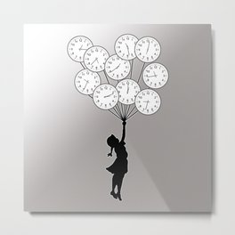 The Girl Flying With Time Metal Print