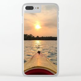 Paddle Into the Sunset Clear iPhone Case