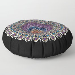 Purple, Blue and Orange Flowering Mandala Floor Pillow