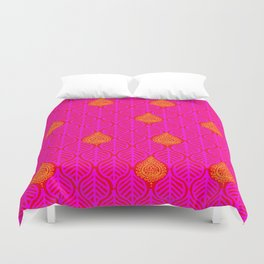 PLANTAIN PALACE - RED/PINK/ORANGE Duvet Cover
