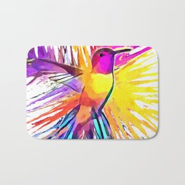 Hummingbird Watercolor Bath Mat