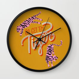 Go Get 'Em Tiger – Yellow Palette Wall Clock