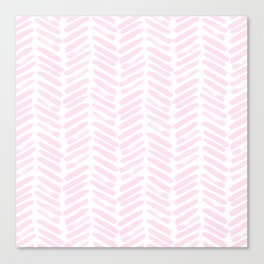 Handpainted Chevron pattern light pink stripes Canvas Print