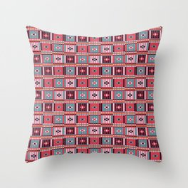 Vintage red teal white abstract beaded pattern Throw Pillow