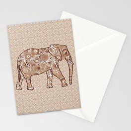 Fractal Swirl Elephant, Brown and Taupe Stationery Cards