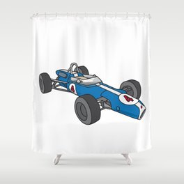 Blue Vintage Racing Car Racecar Shower Curtain